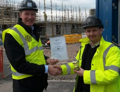 Presentation of Health and Safety award to Veitchi on construction site