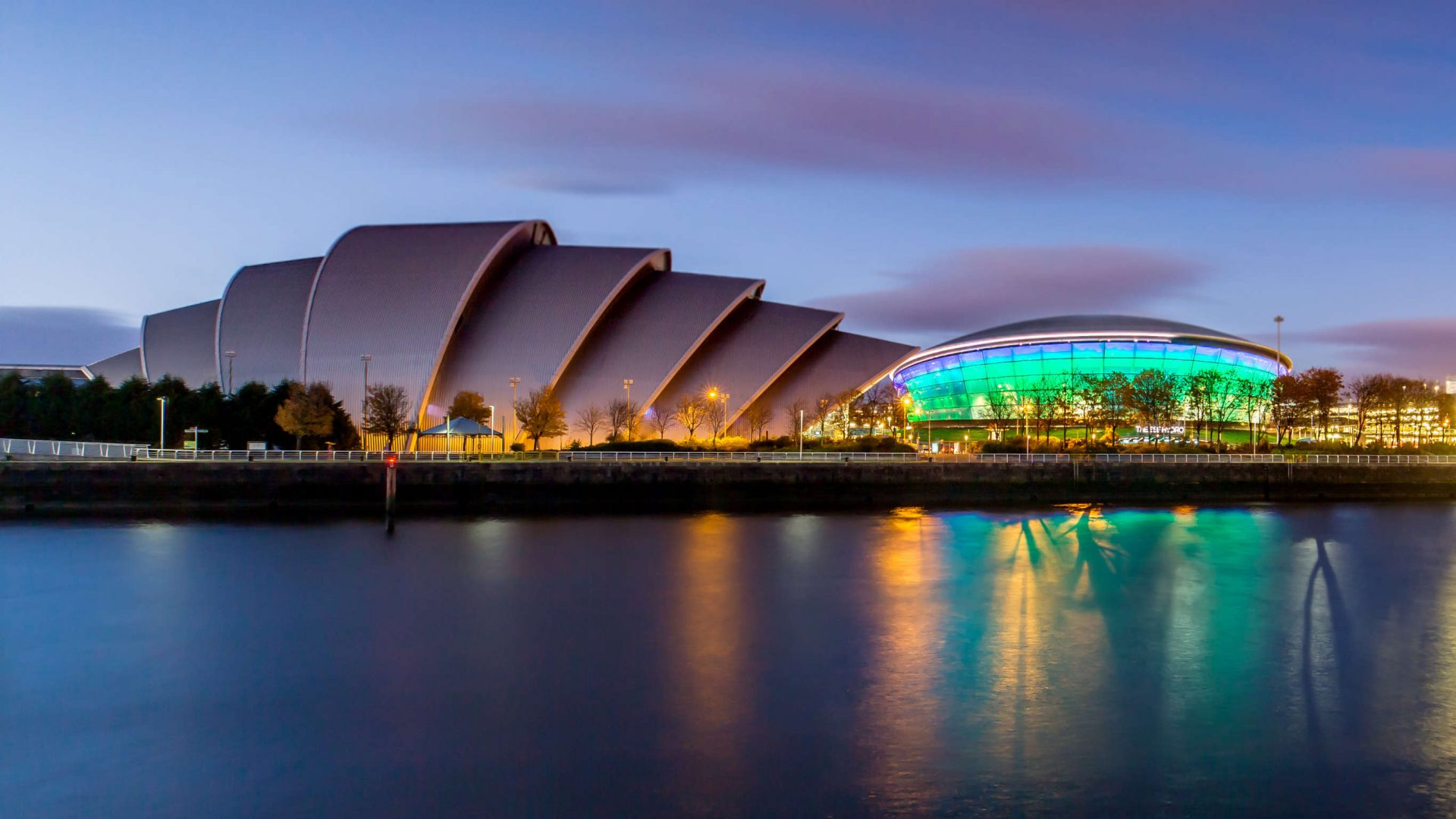 The SSE Hydro from across the Clyde in Glasgow