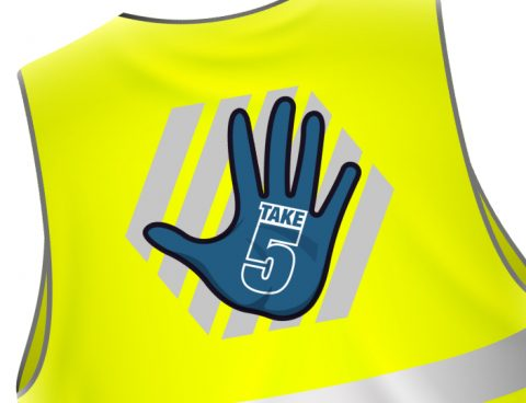 High visibility vest with Veitchi 'Take 5' logo on reverse