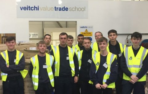 All Veitchi Apprentices posing in front of Veitchi Value Trade School sign
