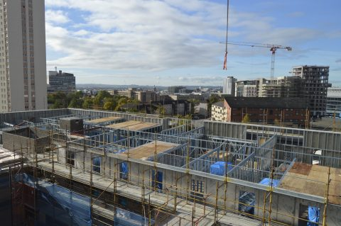 Metframe Construction with Crane, Kennedy Street Glasgow