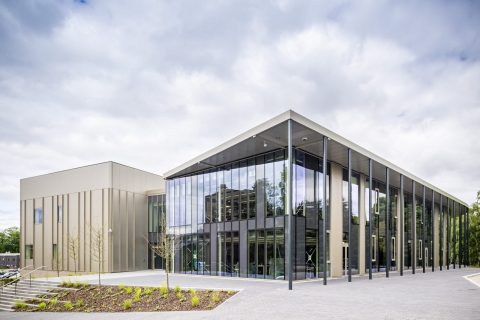 Photo of the Discovery and innovation Centre at Heriot Watt University, from the outside